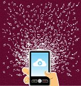 Human Hand  Smart Phone Music Notes Splash