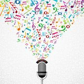 stock photo of g clef  - Microphone colorful music notes splash - JPG