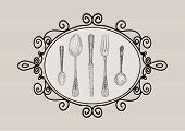 Retro Cutlery Elements Sketch Style Set