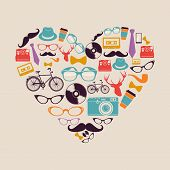 Colorful Vintage Hipsters Love Elements