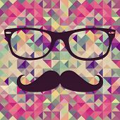 Vintage Hipster Face Geometric Pattern