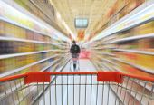 image of grocery cart  - Shopping in supermarket - JPG