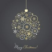 Christmas ball made from gold and silver snowflakes and other ornaments, vector card