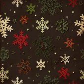 Vintage seamless pattern with colorful snowflakes, Christmas background