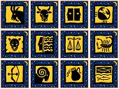 Darkblue Squares With Golden Signs Of The Zodiac