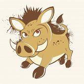 vintage cartoon warthog