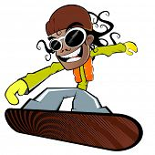 funny cartoon snowboarder