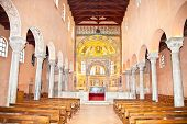 The Euphrasian Basilica in Porec (Parenzo, ancient Parentium). Istrian peninsula.  Croatia. Typical