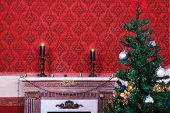 Sensasional Vintage Christmas Interior With Two Candles On A Red Background