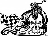 Death and checkered flag. Vector illustration.