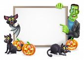 stock photo of happy halloween  - Halloween sign or banner with orange Halloween pumpkins and black witch - JPG
