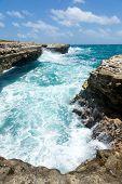 Waves Crashing On The Coastline Devil's Bridge Antigua