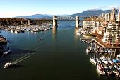 Burrard Bridge And Vancouver False Creek With Yaletown Marina From Cambie