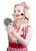 Retro Pin-up Woman Doing Beauty Make-up