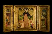 pic of triptych  - Triptych with Virgin and Child flanked by archangels scenes from the life of Christ on black background - JPG
