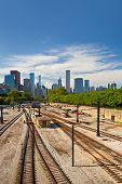 Railroad tracks going to downtown Chicago