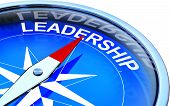picture of compass  - high resolution rendering of a compass with a leadership icon - JPG