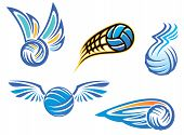 foto of volleyball  - Volleyball symbols and emblems for sport design - JPG