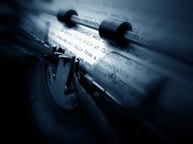 stock photo of qwerty  - Close up of vintage old typewriter keys - JPG