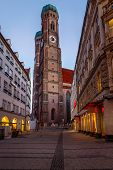 Church Of Our Lady (frauenkirche) In Munich At Dawn, Bavaria, Germany