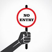no entry word banner hold in hand stock vector