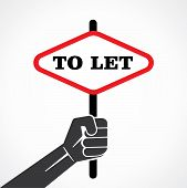 To let placard held in hand stock vector
