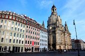 Historic houses and the Frauenkirche in Dresden in Germany