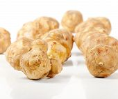 stock photo of jerusalem artichokes  - jerusalem artichoke isolated on white background - JPG