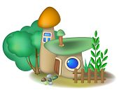 Two Mushroom Houses And Bush