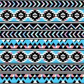 stock photo of indian blue  - Vector seamless aztec ornament - JPG