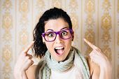 Funny Woman Pointing Purple Glasses