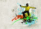 Graffiti style image of snowboarder against grunge background