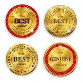 Set of blank round polished gold metal badges on white background. Best Seller. The Best Quality. Pr