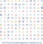 144 cutting colored retro vintage icons for mobile interface. Fine line pixel aligned mobile ui icon