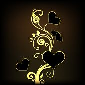 Happy Valentines Day celebration concept with beautiful golden floral decorated brown background.