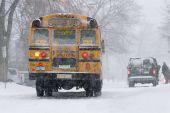 School Bus In Snow