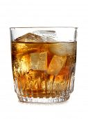 Glass cup of whiskey on white background