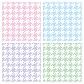 Pastel houndstooth vector seamless pink, blue, green, violet and white pattern set