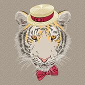 Vector Funny Cartoon Hipster Tiger