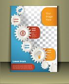 Vector  brochure template design with cogwheels.