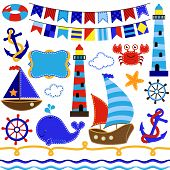stock photo of creatures  - Vector Collection of Nautical and Sailing Themed Elements - JPG