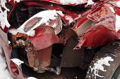 Crumpled Car After Winter Traffic Accident