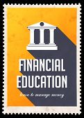 Financial Education on Yellow in Flat Design.