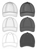 Vector illustration of baseball cap (front view). Black and white different drawing variants. No mes
