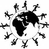 stock photo of eastern hemisphere  - Globe trotting international people on global business run around the world on business - JPG