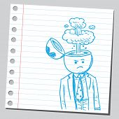 Businessman open headed with steam (anger concept)