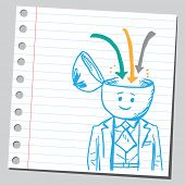 Businessman open headed  with arrows down (influence concept)