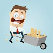 businessman with wheelbarrow of money