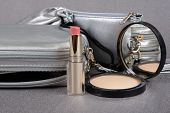 Silver Cases,  Lipstick And Powder