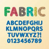 Abstract Rounded Fabric Font And Numbers, Eps 10 Vector, Editable For Any Background, No Clipping Ma